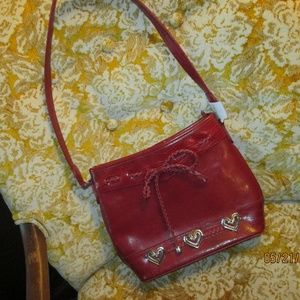 Handbags - DARK RED LEATHER PURSE/NEW/WITH HEARTS AND STRAP